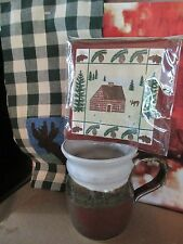 POTTERY MUG by JEFF WARNER & SPICE SCENTED MUG MAT & MOOSE TOWEL  ~3 PIECE SET