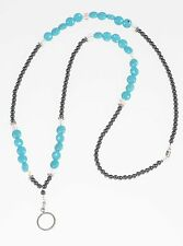 Beaded Turquoise and Crystal Lanyard - Handmade Hematite Lanyard