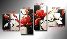 YH408 4PCS Hand painted Oil Canvas Wall Art Home Decor Abstract flower NO Frame