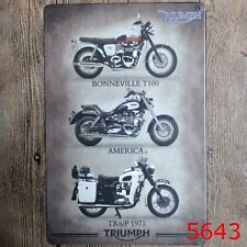 Metal Tin Sign triumph motorcycle Bar Pub Home Vintage Retro Poster Cafe ART