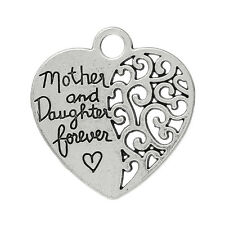 5  SILVER MOTHER & DAUGHTER FOREVER HEART CHARMS/PENDANTS~Wedding~Key Rings(36G)
