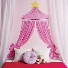 "WALLIES PINK PRINCESS CANOPY HEADBOARD vinyl wall sticker bedroom decor 74"" high"