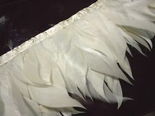 F880 PER FEET- White Cut Curl Rooster Hackle feather fringe Fascinator Material