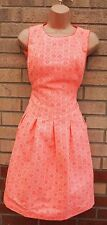 FLORENCE FRED NEON PINK ORANGE FLORAL TRIBAL SKATER PLEATED A LINE DRESS 12 M
