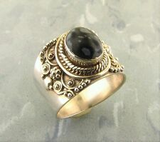 Snowflake Obsidian 925 Sterling Silver Ring - Size 7