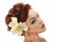 Rockabilly Novia 50s Pin Up ivory crema doble Orquídea Flor Cabello Clip