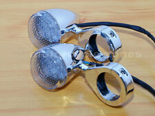2X Chrome Motorcycle Front LED Turn Signal Fog Light 41mm Relocation Fork Clamp