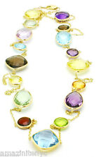 14K Yellow Gold Necklace With Multi-Color Gemstones By The Yard 36 Inches