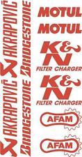 x10 belly pan Sponsor logo Stickers Akraprovic Bridgestone Motul Afam Red 07