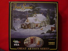 Fred Swan WINTER GOLD Lab Golden Retreiver snow 1000 pieces jigsaw puzzle NEW