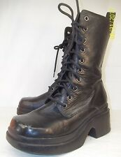 Steve Madden AIRFORCE Wo's US7 Black Leather Lace/Zip Platform Boots Goth Grunge