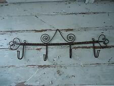 """Antique French """"Twisted Wire Hook Rack"""" Wall Mount"""