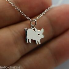 PIG CHARM NECKLACE - 925 Sterling Silver - *NEW* Silhouette Piggy Oink Bacon Zoo