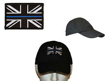 New Black Tactical Cap and Thin Blue Line Police Union Jack Velcro backed patch