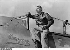 German Luftwaffe Fighter Pilot Sgt Bauer 1944 World War 2 Reprint Photo 5x4 Inch