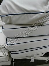 Frontgate Carlisle Outdoor Sofa Cushions replacement Chair herrinbone ivory blue