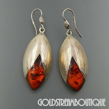 VINTAGE POLAND STERLING SILVER BALTIC AMBER TULIP MODERNIST HOOK EARRINGS #06258
