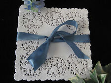 "8"" INCH SQUARE WHITE PAPER LACE DOILY WEDDING ENVELOPE FLORAL 100 PCS FREE SHIP"
