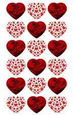 Red Love Hearts Cupcake Toppers Edible Wafer Paper Valentines BUY 2 GET 3RD FREE