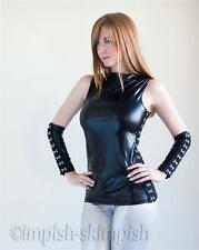 Fetish Wetlook Hook & Eye Fastener Sleeveless Top with Arm Gloves
