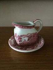 Red And White Milk Jug/ Creamer And Saucer E Wedgwood - Royal Homes Of Britain