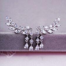 Women Charm Gold Silver Crystal Zircon Leaves Tassel Ear Stud Earrings Jewelry