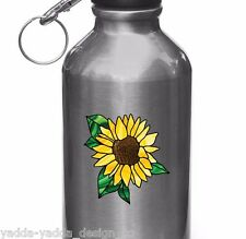 "Sunflower D2 Stained Glass Style - Water Bottle Vinyl Decal ©YYDC(2.75""Wx2.75""H)"