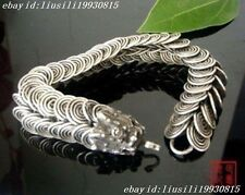 RARE CHINESE Tibetan silver inlay dragon bracelet