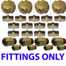 Air suspension valves Fittings only Kit all U need for 8 Brass Valves 1/2""