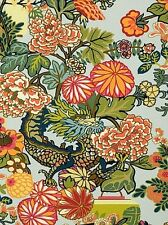 SCHUMACHER CHIANG MAI DRAGON JEWEL TONES ON Aquamarine LINEN PRINT 2YD
