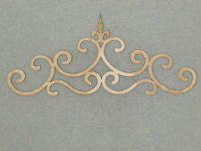 "Large 24"" Unfinished Wood Ornamental Crown Scroll Wall Decor Art"