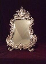 Antique Rococo Louis XV Style Silver On Bronze Dressing Table Mirror