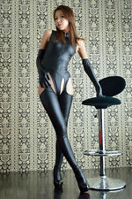 Sexy Womens Faux Leather Bodysuit Jumpsuit Open Crotch Pantyhose Gloves Costumes