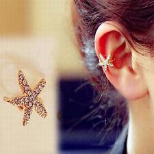 1pc Women Personality Crystal Starfish Charm Ear Clip Cuff Earring Stud Jewelry