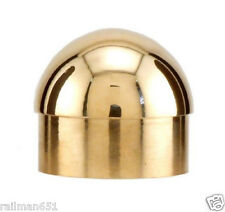 """POLISHED BRASS  DOMED END CAP- 1 1/2"""" DIA. BAR RAIL CAP FOR 1 1/2"""" TUBE"""
