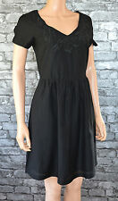 Elegant Plain Black Cotton Pencil Funeral Occasion Formal Suit Dress Uk Size 8