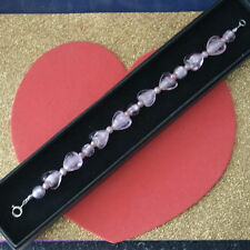 """Beautiful Bracelet With Heart Murano Glass And Pink Pearls 7"""" In Long + Clasps"""