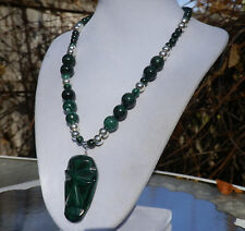 "18"" Handmade Natural Malachite Stone Necklace with Carved Face Malachite Pendant"