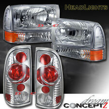 For 1999-2004 Ford F250 F350 SuperDuty Truck Headlights + Tail lights Chrome