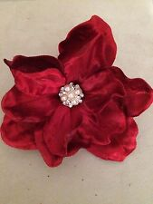 VELVET JEWELED MAGNOLIA ARTIFICIAL FLOWER HAIR CLIP/PIN BROOCH (RED)