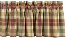 UNLINED CURTAIN VALANCE 72X14 SAFFRON COUNTRY RED SAGE GREEN GOLDEN TAN PLAID