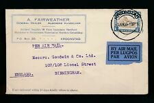 ADVERTISING ENVELOPE 1933 SOUTH AFRICA FAIRWEATHER KROONSTAD AIRMAIL to GB