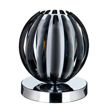 SEARCHLIGHT CHROME FINISH TOUCH TABLE LAMP SMOKED ACRYLIC WITH FROSTED GLASS NEW