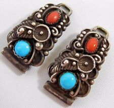 Vtg STC NAVAJO Sterling Silver Turquoise Carnelian Womens Watch Band Links