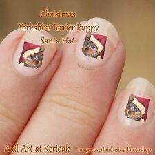 YORKSHIRE TERRIER PUP Christmas Santa Hat Set of 24 Dog Nail Art Stickers Decals
