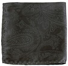 New Men's Polyester Woven pocket square hankie only dark gray paisley wedding