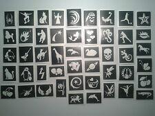 100 pochoir de tatouage pour les tatouages paillettes art corporel + 10 coulur