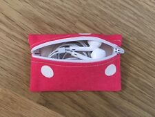 Handmade Earphone Earbud Case Pouch Made With Cath Kidston Red Spot Fabric