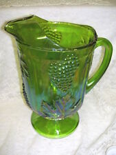 CARNIVAL GLASS PITCHER IRIDESCENT GREEN W/ BLUE GRAPE AND IVY DESIGN
