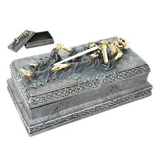 Skeleton Tomb Celtic Jewelry Box Warrior Knight Coffin Statue Box